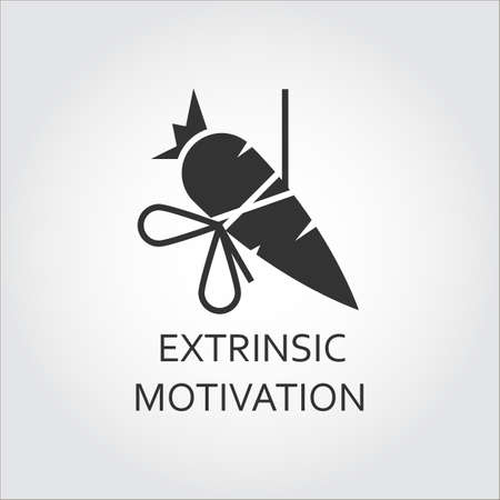 remuneration: Extrinsic motivation, bait, lure as carrot on a rope. Simple black icon.