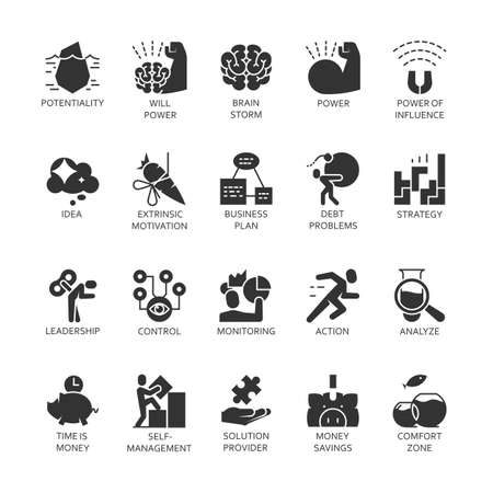 desarrollo económico: Big silhouette symbol collection. Black icons set of business economic development, financial growth. Stroke vector concept for web graphics. Simple mono flat pictogram pack.