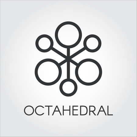 Symbol of chemical compound or octahedral molecule icon