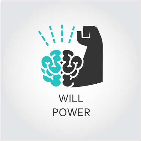 struggle: Icon of brain and muscle hand. Willpower concept