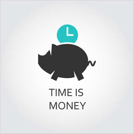 moneyed: Icon of piggy and clock. Time is money concept Illustration
