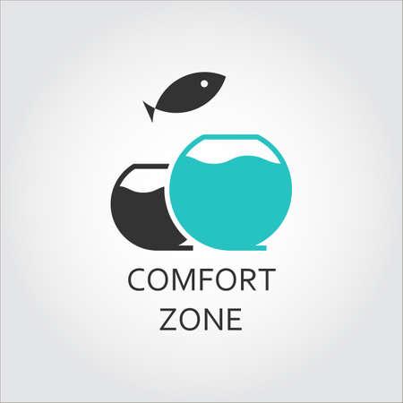 Acquario e salto di pesce, concetto di zona comfort Vettoriali