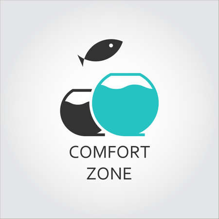 Aquarium and jumping fish, comfort zone concept Ilustração