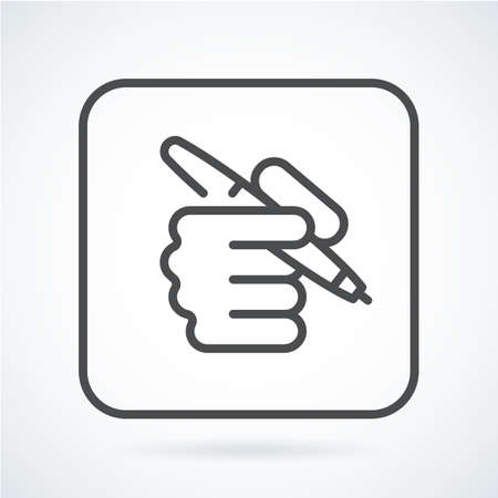 stylus: Black flat icon hand of a human with a pen