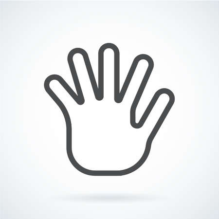 hi five: Black flat icon gesture hand of a human greeting palm