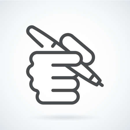 Black flat icon hand of a human with a pen