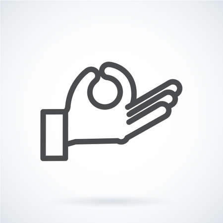 gestural: Black flat icon gesture hand of a human meditation, relax Illustration