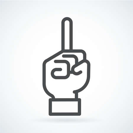Black flat icon gesture hand of human forefinger in up