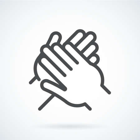 gestural: Black flat icon gesture hand of a human applause, bravo