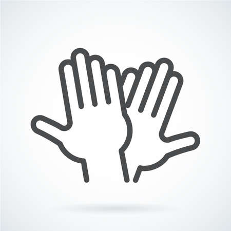 Black flat icon gesture hand of human high five, greeting