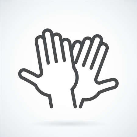 Zwarte plat pictogram gebaar hand van de menselijke hoge vijf, groet