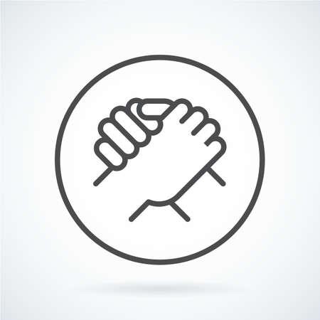 Main de geste icône plate noire d'une salutation humaine, armwrestling