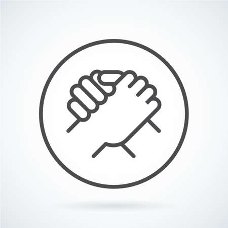 Black flat icon gesture hand of a human greeting, armwrestling