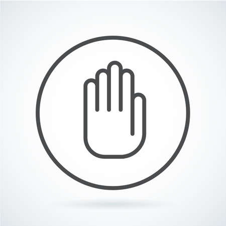 Black flat simple icon style line art. Outline symbol with stylized image of a gesture hand of a human stop, palm in circumference. Stroke vector logo mono linear pictogram web graphics.