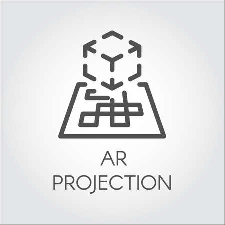 Icono de línea negra vectorial realidad aumentada tecnología digital AR futuro.