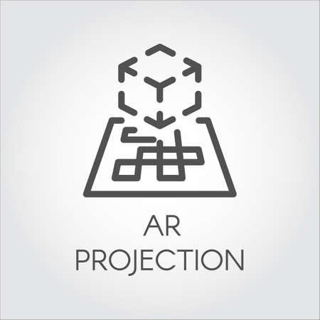 Zwarte lijn vector pictogram augmented reality digitale AR-technologie toekomst.