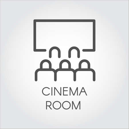 hall monitors: Black flat simple icon in style line art. Outline symbol with stylized image of a audience in room cinema. Stroke vector logo video presentation. Mono linear pictogram web. On a gray background.