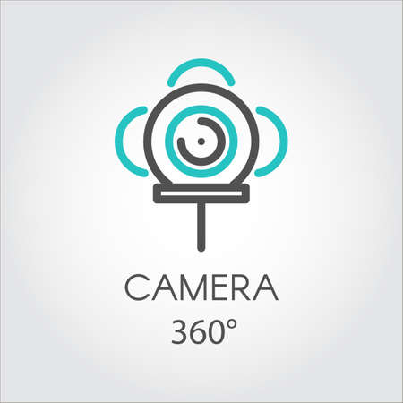 Color line icon new 3D technology view camera 360 degrees. Illustration
