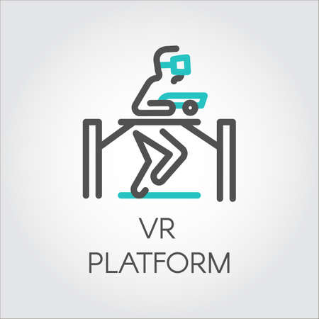 Color line icon device person on game platform virtual reality Illustration