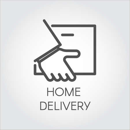 sign post: Image of the hand holding envelope. Icon of home delivery, fast and convenient service concept. Simple black linear logo for websites, mobile apps and other design needs. Vector contour graphics
