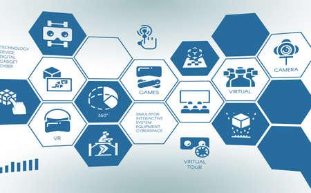 Pictograma estilizado da realidade aumentada virtual do dispositivo novo. Conceito de tela de toque com logotipo digital plana AR tecnologia futura. espaço virtual do sistema interativo do simulador. Ilustração vetorial