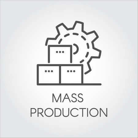 Icon in linear style of gear wheel. Mass production and modern machinery equipment concept. Contour pictogram Vettoriali