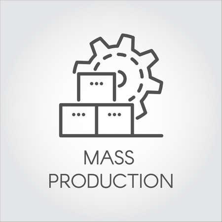 Pictogram in lineaire stijl van tandwiel. Massaproductie en modern machinemateriaalconcept. Contour pictogram Stock Illustratie