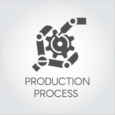 詳細を収集するロボット アームのフラット スタイルの黒いアイコン。産業の近代的な設備と生産加工コンセプト