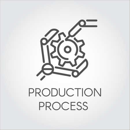 詳細を収集するロボット アームの直線的なスタイルのアイコン。産業の近代的な設備と生産加工コンセプト