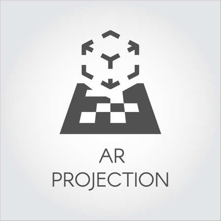 ar: Logo of device virtual AR projection. Black flat icon of digital AR technology. Pictogram cyberspace, interactive, simulation, concept. Vector illustration for your projects