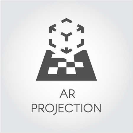 Logo van apparaat virtuele AR-projectie. Zwart vlak pictogram van digitale AR-technologie. Pictogram cyberspace, interactief, simulatie, concept. Vector illustratie voor uw projecten