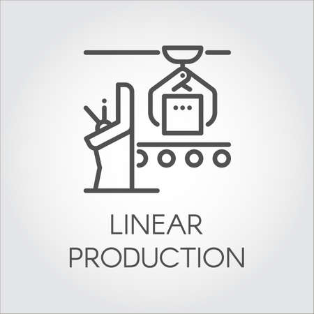 conveyor system: Simple contour pictogram of linear production concept. Modern machinery equipment and manufacturing theme. Line icon or infographic element for different design needs. Vector illustration label