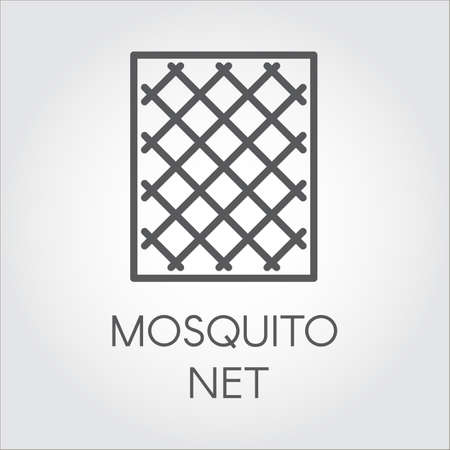 Simplicity icon in linear style of mosquito nets for windows. Concept of protection of premises from insects. Logo for shop catalogue, online shops and other projects. Vector outline label Stock Illustratie