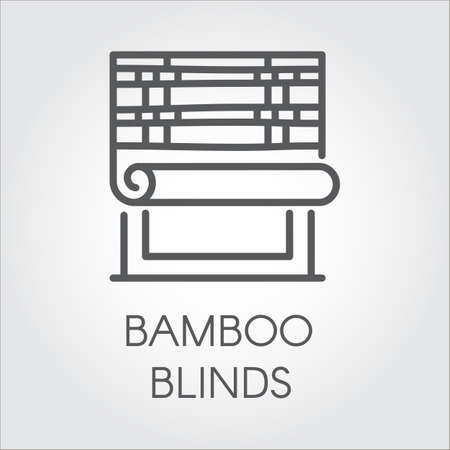pictograph: Window bamboo blinds icon in line style. Interior design contour for store catalog and other design needs. House or office decor concept. Vector simplicity label