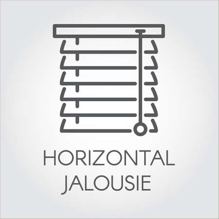 Window horizontal jalousie icon in outline style. Contour logo for different design needs. House or office decor concept, shop catalog, online shops and other projects. Vector illustration