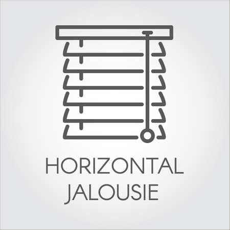 Venster horizontale jaloezie icoon in overzichtstijl. Contour logo voor verschillende ontwerpbehoeften. Huis of kantoor decor concept, winkel catalogus, online winkels en andere projecten. Vector illustratie