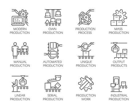 자동 및 수동 생산의 아이콘의 큰 집합입니다. 20 모노 선형 웹 그래픽 픽토그램. 비즈니스, 현대 기계 장비 개념의 개요 기호입니다. 편집 가능한 획. 64