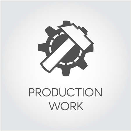 gearwheel: Black icon in flat style of gear wheel and hammer. Concept of production work. Graphic button or infographic element