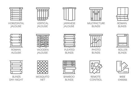 15 lijnpictogrammen van verschillende ontwerpen van gordijnen, jaloezieën, klamboes en afstandsbediening. Grote vectorreeks contouretiketten die op een witte achtergrond worden geïsoleerd