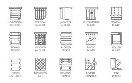 15 line icons of various designs of curtains, blinds, jalousie, mosquito nets and remote control. Big vector set of contour labels isolated on a white background Illustration