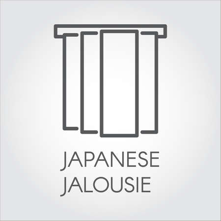 Simple line icon of Japanese jalousie. Label for home and office interior design concept, shop catalog, online shops and other projects. Logo in outline style. Vector label on a gray background