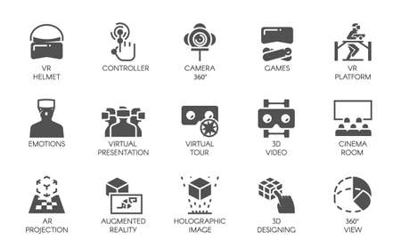 Big set of 15 icons in flat style of augmented reality digital AR technology. Futuristic technology concept. Vector labels isolated