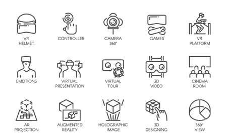 拡張現実感のデジタル AR 技術の将来の線アイコンの大きなセット。白い背景に分離された 15 のベクトル ラベル