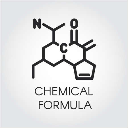 Black line icon of chemical formula, Medicine, science, biology, chemistry theme, Vector contour label for different projects