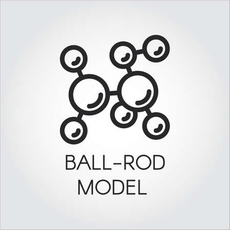 pictograph: Simplicity icon of ball-and-stick molecular model in outline style, Vector illustration for scientific, physical, educational concept projects, Contour label of chemical series