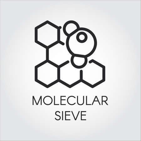 Linear icon of molecular sieve concept, Vector series labels of chemical formulas and compounds. Illustration