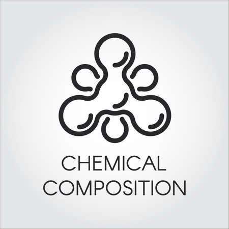 benzodiazepine: Chemical molecular icon in linear style. Atom structure contour logo. Black simplicity vector pictogram for your projects. Web label