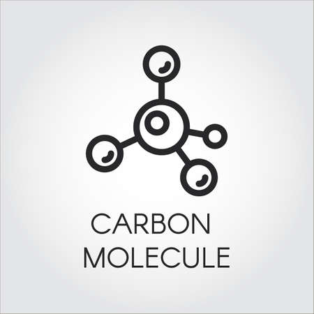 Abstract linear icon of carbon molecule. Illusztráció