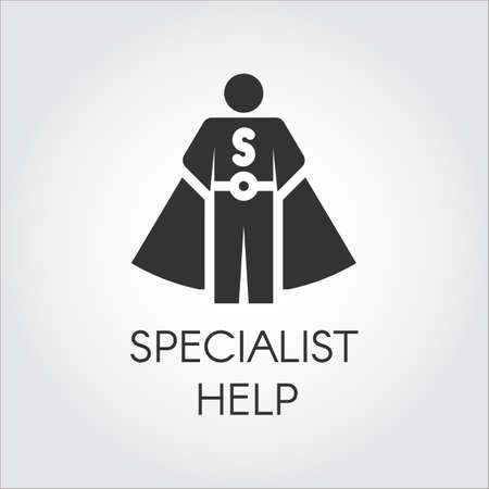 Black icon in flat design symbolizing specialist consultant, personal assistant concept. Vector human label