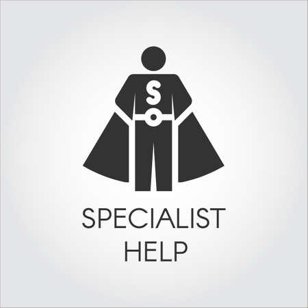Zwart pictogram in vlak ontwerp die specialistenadviseur, persoonlijk hulpconcept symboliseren. Vector menselijk label Stock Illustratie